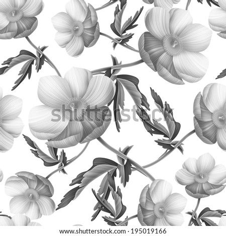Seamless pattern with anemones flowers - stock photo