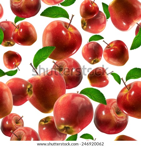 seamless pattern with apples on the white background. - stock photo