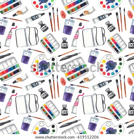 Seamless Pattern With Art Supplies On White Isolated Background Paints Palette Brushes