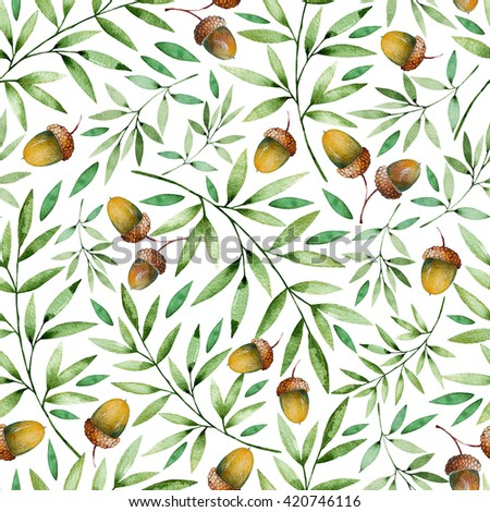 Seamless pattern with autumn leaves and acorns.Watercolor handpainted texture on white background. Autumn illustration.Can be used for wallpaper,texture,print,cover,blogs,invitation,wedding etc - stock photo