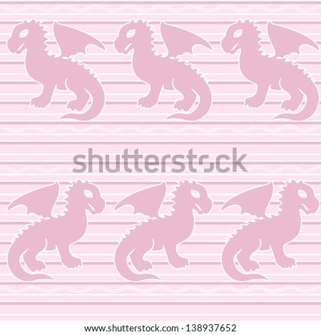 Seamless pattern with baby dragons on stripy background. Raster version. - stock photo