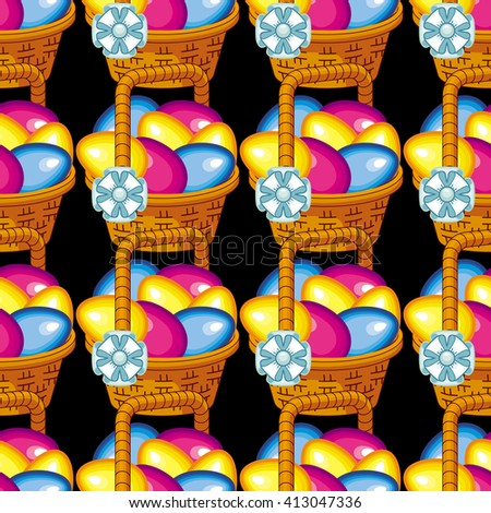 Seamless pattern with basket and Easter eggs. Raster clip art.