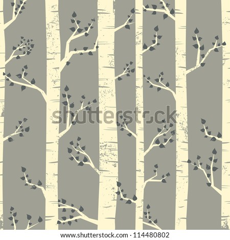 Seamless pattern with birch trees.