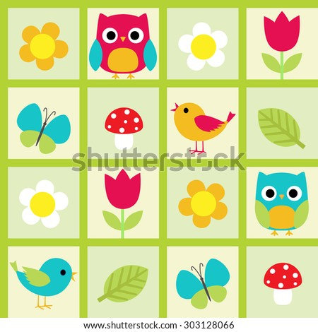 Seamless pattern with birds and flowers. Raster version - stock photo