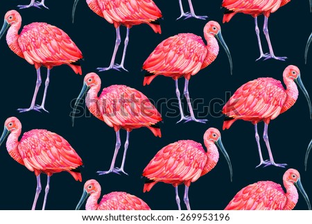 seamless pattern with birds. scarlet ibis on dark indigo background. watercolor drawing, very detailed. for fashion or interior. - stock photo