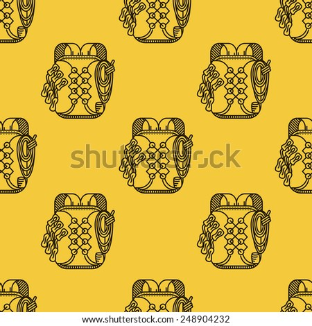 Seamless pattern with black flat line backpack for rock climbing on yellow background. - stock photo