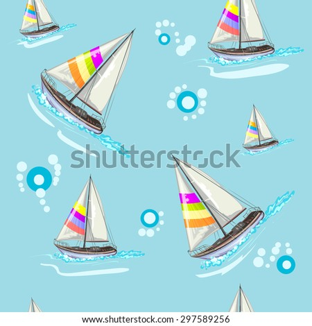 Seamless pattern with boat - stock photo