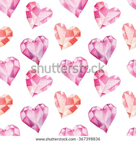 Seamless pattern with bright hand painted watercolor crystal hearts. Romantic decorative background perfect for Valentine's day gift paper, wedding decor or fabric textile  - stock photo