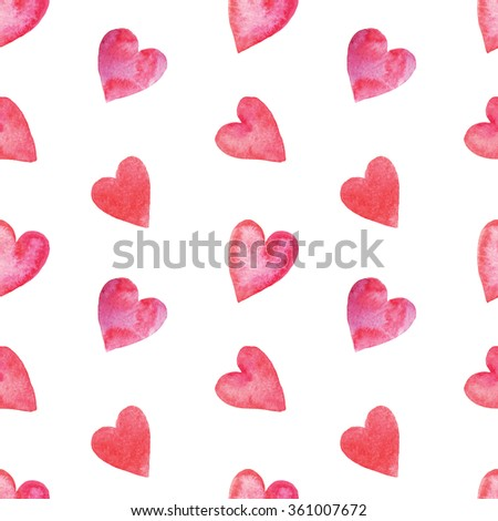 Seamless pattern with bright hand painted watercolor hearts. Romantic decorative background perfect for Valentine's day gift paper, wedding decor or fabric textile  - stock photo