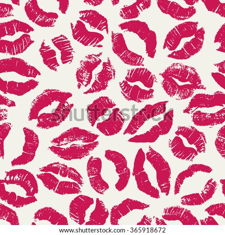 Seamless pattern with bright lipstick kisses. Different imprints of pink lipstick isolated on a white background. Can be used for design of fabric print, wrapping paper or romantic greeting card - stock photo