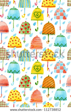 Seamless pattern with bright umbrellas and hearts - stock photo