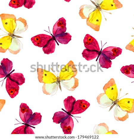 Seamless pattern with bright watercolor (aquarell) painted red and yellow butterflies on white background - stock photo