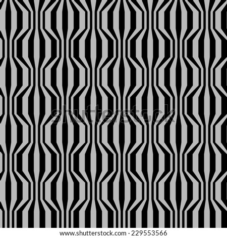 Seamless pattern with broken wavy strips . Vintage background in two colors. Simple ornamental illustration with texture for print, web