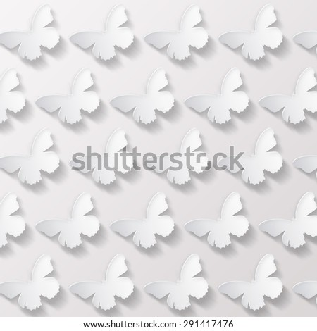 Seamless pattern with butterflies  - stock photo