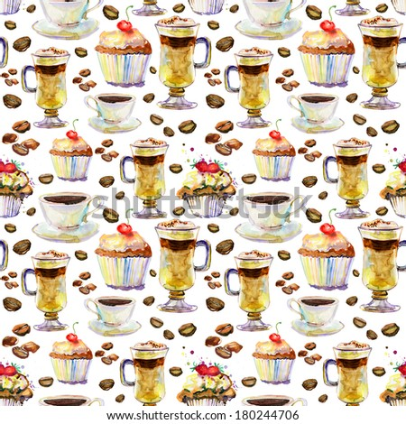 seamless pattern with cakes and cups. - stock photo