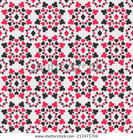 Seamless pattern with card suits - stock photo