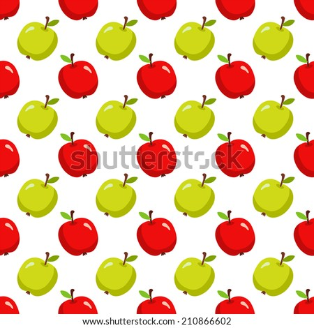 Seamless pattern with cartoon apples on a white background. Fabric design. Wallpaper. Endless texture - raster version - stock photo
