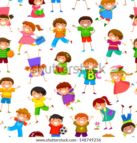 seamless pattern with cartoon kids