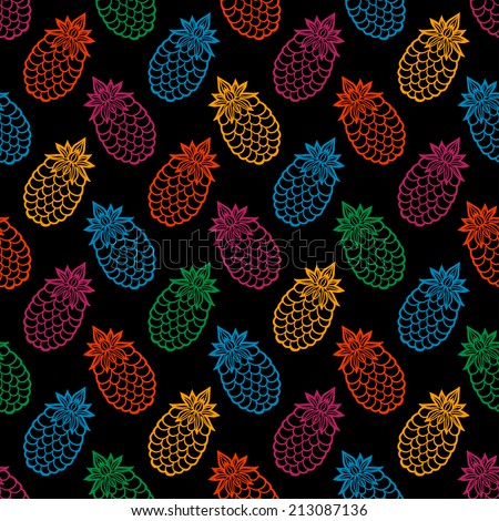 Seamless pattern with cartoon pineapples on a black background. Fruits. Summer. Abstract tropical texture. Fabric design. Wallpaper - raster version - stock photo