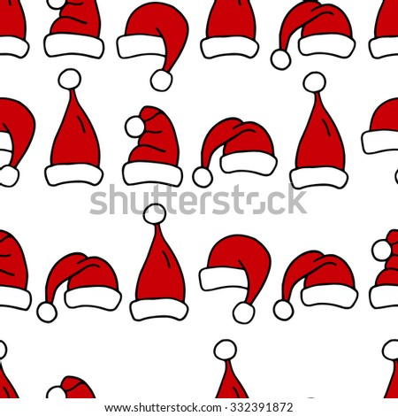 Seamless pattern with Christmas hats. Red Santa Claus cap for textile print or wrapping paper.
