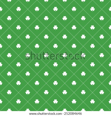 Seamless pattern with clovers leaves and stripes in rhomb shape for design of St. Patricks Day items. Repeating background for greeting card, cover, presentation, web site, banner, etc. - stock photo
