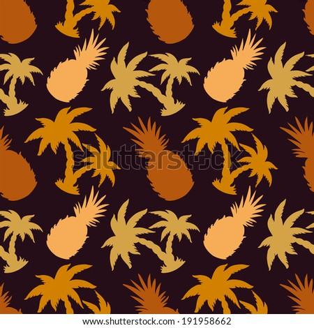 Seamless Pattern with Coconut Palm Trees and Pineapples. Endless Print Silhouette Texture. Summer. Hand Drawing. Retro. Vintage Style - raster version