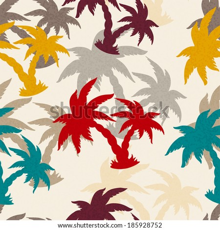 Seamless Pattern with Coconut Palm Trees. Endless Print Silhouette Texture. Ecology. Forest. Hand Drawing. Retro. Vintage Style - raster version
