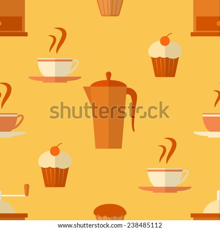 Seamless pattern with coffee and cakes in flat style - stock photo