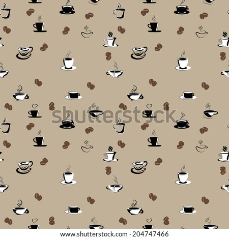 seamless pattern with coffee beans and cups - stock photo