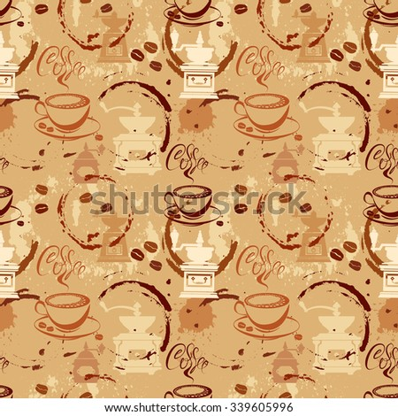Seamless pattern with coffee cups, beans, grinder, coffee stain, calligraphic text COFFEE. Background design for cafe or restaurant menu. Raster version - stock photo