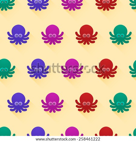 Seamless pattern with color octopuses. Cute octopuses have fun - stock photo