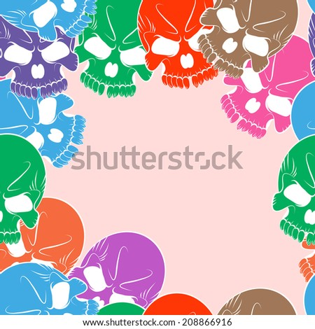 Seamless pattern with colored skulls  - stock photo
