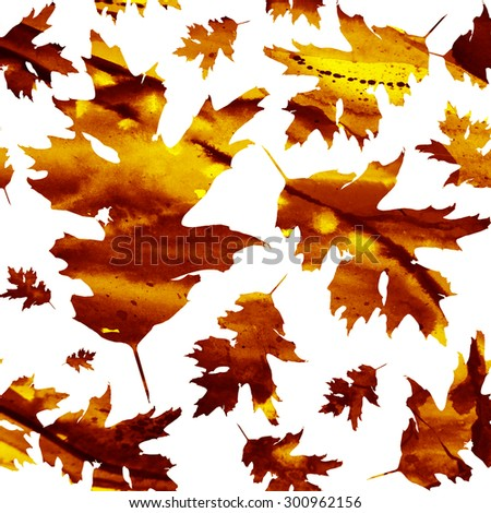 Seamless pattern with colored watercolor maple leaves on a white background. Technique of painting, monotype. Autumn texture - stock photo