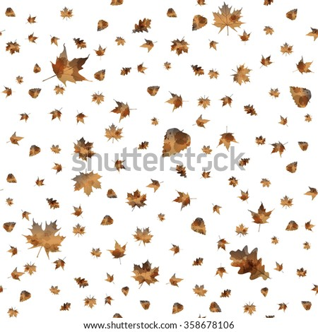 Seamless pattern with colorful autumn leaves. illustration. - stock photo