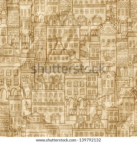 Seamless pattern with colorful houses on the crumpled paper texture. Abstract hand-drawn pattern for your design wallpapers, pattern fills, web page backgrounds, surface textures. - stock photo