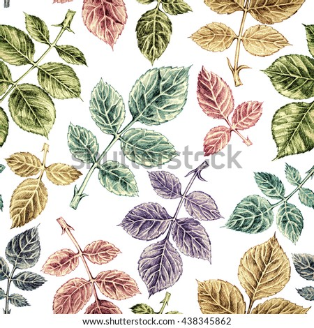 Seamless pattern with colorful leaf, autumn vintage roses leaves background. Hand drawn illustration on white background. - stock photo