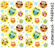 Seamless pattern with colorful owls. Raster version - stock photo