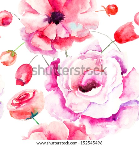 Seamless pattern with Colorful pink flowers, watercolor illustration  - stock photo