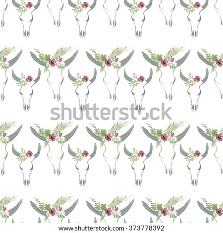 Seamless pattern with cow skulls - stock photo
