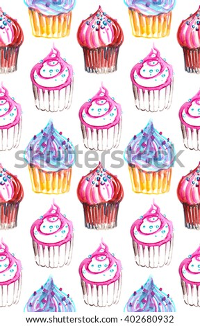 Seamless pattern with cupcakes painted in watercolor on white isolated background