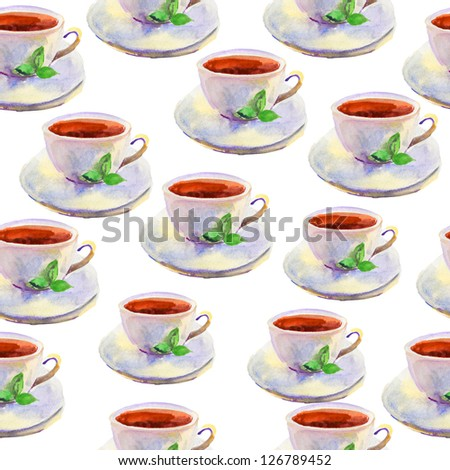 seamless pattern with cups and leaves.