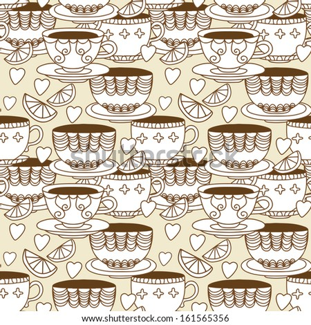 Seamless pattern with cups, lemons and  hearts - raster version - stock photo