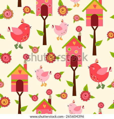 seamless pattern with cute birds and colorful houses for birds - stock photo