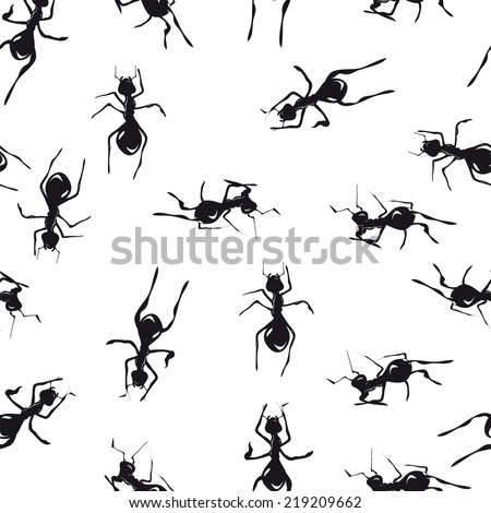 Seamless pattern with cute black ants an white background - stock photo
