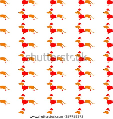 Seamless pattern with cute dachshund in red Christmas suit repeating on white background. Flat style illustration - stock photo