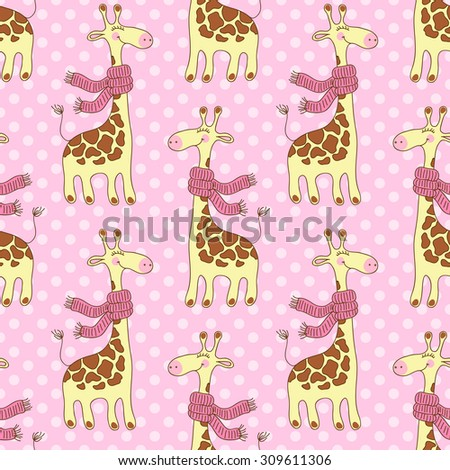 Seamless pattern with cute giraffes with scarves - stock photo