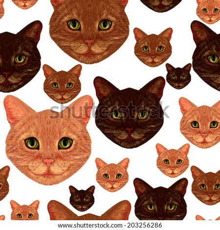 Seamless pattern with cute hand drawn cats on blue background. realistic hand drawn - stock photo
