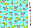 seamless pattern with cute mice and slices of cheese (raster version of vector) - stock photo