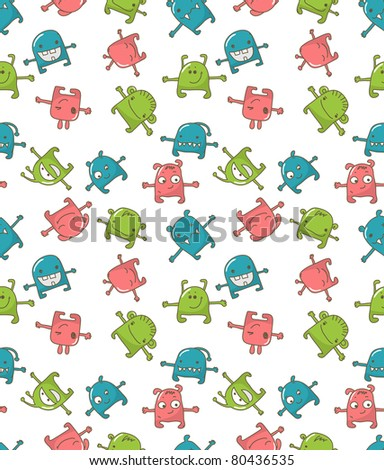 Seamless pattern with cute monsters. Vector version also available in my portfolio. - stock photo