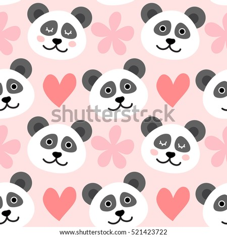 Seamless pattern with cute panda face, hearts and flowers